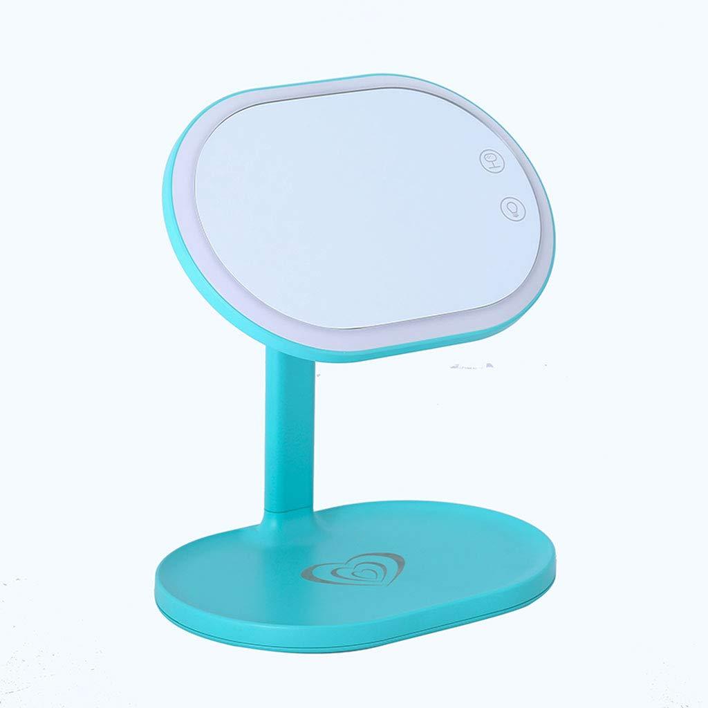 Grün WQlry LED Schminkspiegel Tischlampe mit USB-Schnittstelle Kosmetische Speicher Handy Wireless Charging (Farbe   Grün)