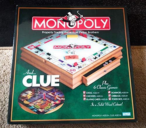 - Parker Brother Hasbro Wooden Board Games, Monopoly, Clue Plus 6 Other Board Games