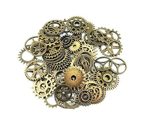 Burts Beads - 100 Gram Assorted Antique Steampunk Gears Charms Pendant Clock Watch for YRS0609