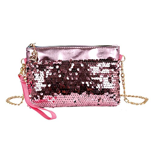 Clearance Sales Fashion Retro Sequins Wallet AfterSo Womens Girls Gift Smal Coins Change Card Holder Case Purse Key Bags (19cm(L) 3cm(W) 16cm(H)/7.48(L) 1.18(W) 6.29(H), Pink - 3)