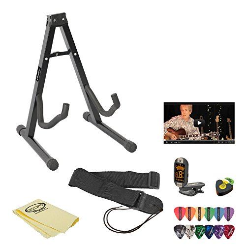 Acoustic Guitar Accessory Pack with Lesson, Pick Holder, ChromaCast Stand, Strap, Tuner, Picks and Polish Cloth