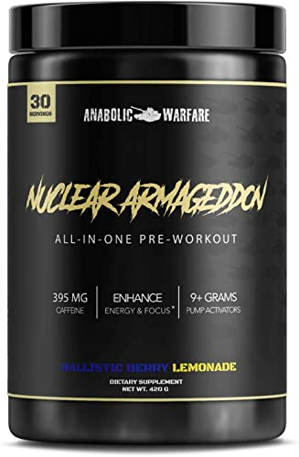 Nuclear Armageddon Preworkout Powder by Anabolic Warfare Preworkout Supplement with Caffeine and L-Citrulline Ballistic Berry Lemonade – 30 Servings