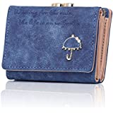 APHISON Women's Nubuck Leather Wallet Card Holder Cute Small Coin Purse for Lady Kiss Lock Closure/Gift for Girls(Gift Box) (BLUE)