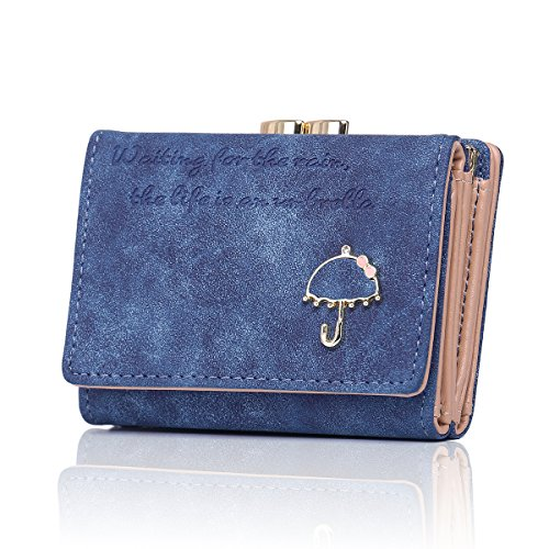 (APHISON Women's Nubuck Leather Wallet Card Holder Cute Small Coin Purse for Lady Kiss Lock Closure/Gift for Girls(Gift Box) (BLUE))