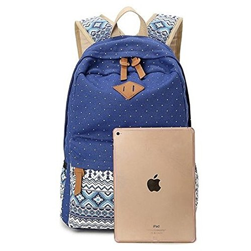 Abshoo Canvas Dot Backpack Cute Lightweight Teen Girls Backpacks School Shoulder Bags (Sky Blue)