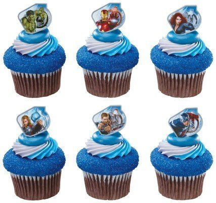 Captain America and the Avengers Super Hero Rings (36 pc) Cupcake Rings / Cake Topper. Featuring Thor, Iron Man, The Incredible Hulk, Captain America, Hawkeye, and Black Widow]()