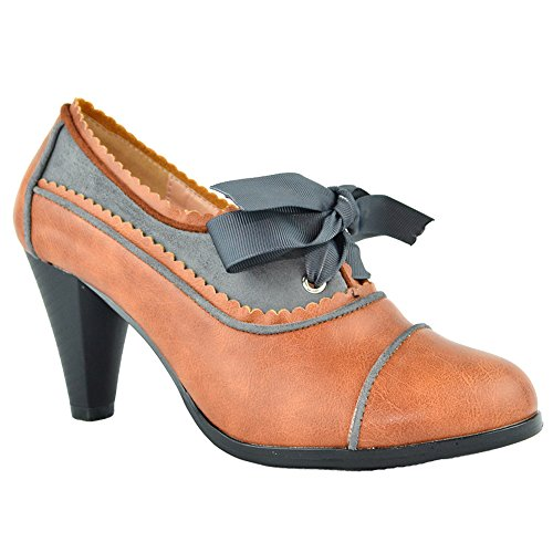 Women's Heeled Oxford Classic Retro Two Tone Wing Tip Cut-Out Lace Up Kitten Heel Mary Jane Pump Cognac/Grey 7