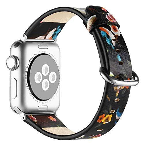 (Anjoo Compatible Apple Watch Band 38mm/ 40mm, Floral Pattern Printed Leather Replacement iWatch Wristband with Metal Buckle for iWatch Series 4 3 2 1 Sport and Edition, Flower Design for)