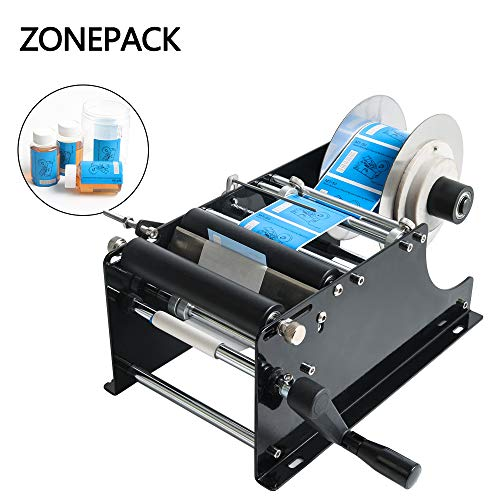 ZONEPACK Manual Round Labeling Machine with Handle Manual Round Bottle Labeler Label Applicator for Glass Metal Bottle