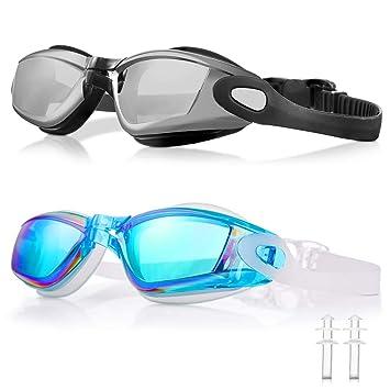 WOLFWILL - Gafas de Natación de Triatlón Sin Fugas, Anti Niebla,Protección UV 400 - Gafas para Piscina con Tapones para los Oídos y Estuche de ...