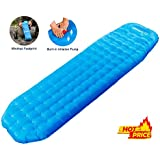 WolfWise Lightweight Inflatable Sleeping Pad Tent Static Air Mattress Backpacking Sleep Pads for Hiking Camping (Blue)