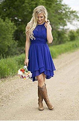 Halter Chiffon Short Dress YinWen Beach Women's Party Bridesmaid Wedding Blue Dresses Sky Fwaxt5q