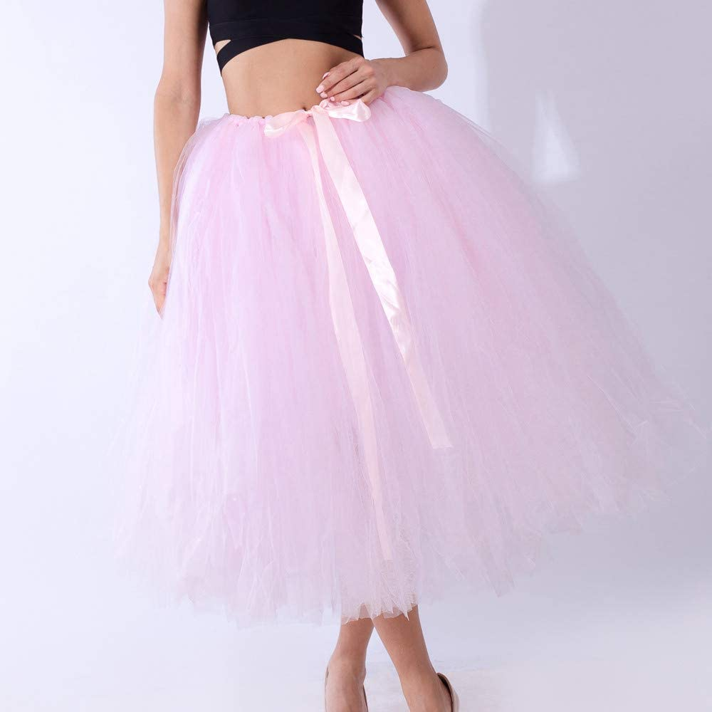 Lazzboy Women Tutu Skirt Tulle Petticoat Dance Organza Costume Dress-up Maxi Midi Skirt Size 8-22 Pink