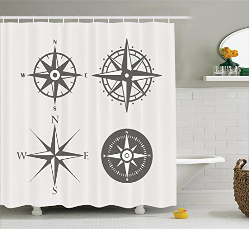 Ambesonne Compass Decor Collection, Wind Rose Old Fashion Navigational Equipments Orienteering Illustration Print, Polyester Fabric Bathroom Shower Curtain Set with Hooks, Gray