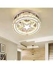 Modern K9 Crystal Moon Star Chandelier Lighting with Remote, Flush Mount LED Ceiling Light Fixture Pendant Lamp for Dining Room Bedroom Living Room