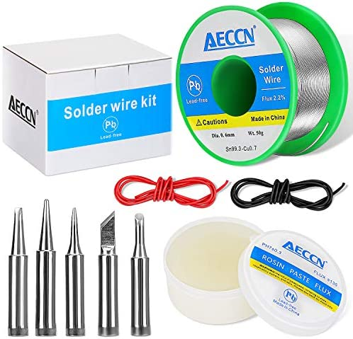 5 In1 Lead Free Solder and Solder Flux Kit | 50g Lead-Free Solder Paste | 0.6mm Solder Wire with Rosin Core | 5 Pcs Replacement Soldering Iron Tips | Solder Supplies for Electronics Metalwork Weld