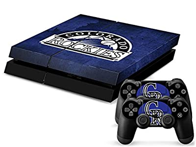 MightySticker® PS4 Designer Skin Game Console System plus 2 Controller Decal Vinyl Protective Covers Stickers f Sony PlayStation 4 - MLB Colorado Rockies CR Flag Logo Baseball Sports Fan