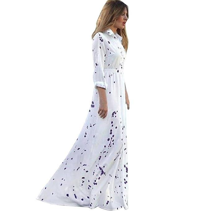 f68724911b85 Chiffon Damen Boho Blusekleid Langarm Maxikleid Strandkleid Hemdkleid  Partykleid Sommerkleid V-Ausschnitt Mädchen Kleider Frauen