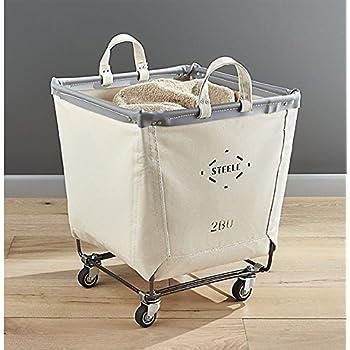 Square Laundry Basket on Wheels - Beige Canvas Bin - 2 Bushel
