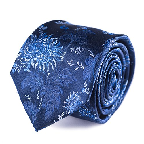 - Qobod silk necktie men jacquard neck ties gifts boxes navy floral unique