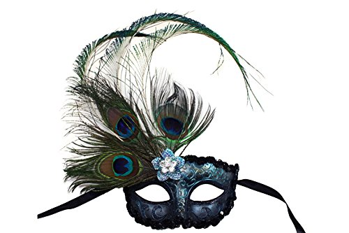 Skyflower Hand-Painted Peacock Masquerade Mask for Women -