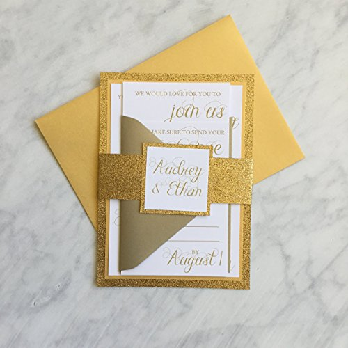 [Gold Glitter Wedding Invitation, Champagne Wedding Invitation Set, Personalized Wedding Invite, SAMPLE Audrey, Glitter Wedding Suite with RSVP and Enclosure] (Wedding Rsvp Personalized Invite)