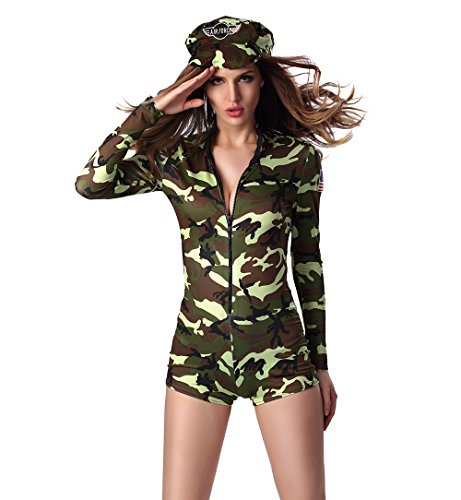 [JJ-GOGO Women Sexy Army Romper Halloween Uniform Costume (L)] (Sexy Army Costumes For Women)