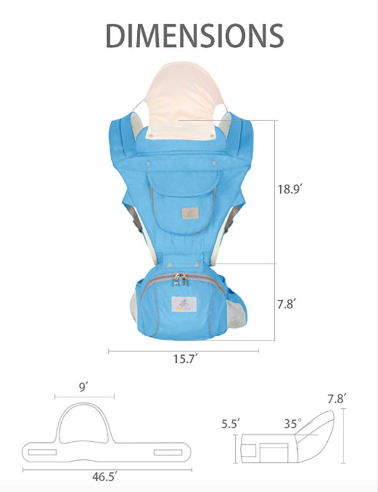 Ergonomic Baby Hip Seat Carrier Baby Waist Stool for Newborn Child Infant Toddler with Cool Air Mesh Windproof Babyhood Comfortable Insert Dark Grey