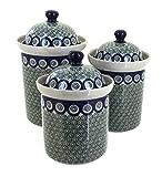 Ceramika Artystyczna Polish Pottery Peacock Swirl Canister Set