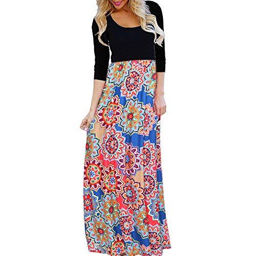 HITRAS Dress!Fashion Women Elegant 3/4 Sleeve Floral Print Stripe Casual Party Long Maxi (Tiered Prairie Skirt)