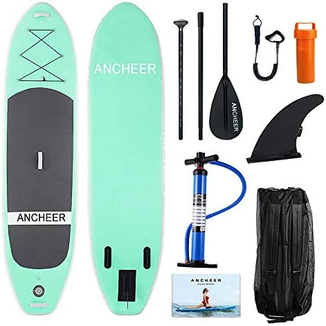 ANCHEER Inflatable Stand Up Paddle Board 10 with Non-Slip Deck, iSUP Boards w Complete KIT, Adjustable Paddle, Leash, Fin, Hand Pump and Backpack,Youth Adult