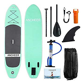 Image of ANCHEER Inflatable Stand Up Paddle Board 10' with Non-Slip Deck, iSUP Boards w/Complete KIT, Adjustable Paddle, Leash, Fin, Hand Pump and Backpack,Youth & Adult Stand-Up Paddleboards