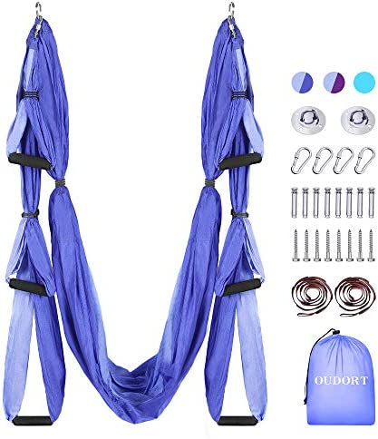 Oudort Aerial Yoga Swing Set, Yoga Hammock Flying Trapeze Yoga Kit Aerial Yoga Hammock Sling Inversion Tool with 2 Extension Straps for Home Gym Fitness, Mounting Accessories Included