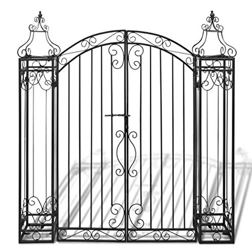 Lovely999 Ornamental Garden Gate Antique Fence Vintage Hand Architectural Forged Lot Blacksmith Balustrade Salvage L Driveway Scroll Wrought Iron 4'x8 x4' 5