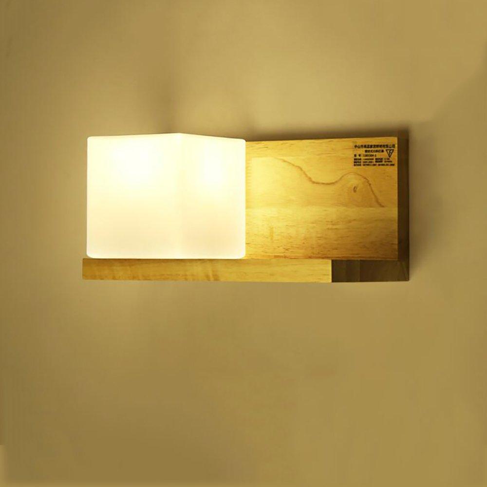 Jack Mall Nordic Massivholz Wandleuchte Japanischer Stil Eingang Gang Gartentisch Schlafzimmer Nachttisch Lampen Wandregale Bücherregal Lichter (Farbe   Links)