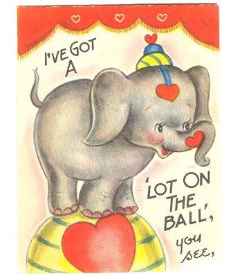 amazoncom vintage elephant on ball circus theme valentine day card everything else - Elephant Valentine