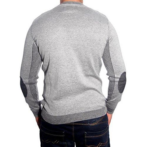R-Neal RN-3178 Herren Pullover Karo Pulli Sweatshirt Jacke Hoodie T-Shirt Neu, Größe:L, Farbe:Grau