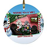 Home of Poodle 4 Dogs Playing Poker Photo Round Christmas Ornament