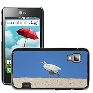 Hot Style Cell Phone PC Hard Case Cover // M00111437 Egret Cattle Egret Roof Top Bird // LG Optimus L5 II Dual E455 / E460