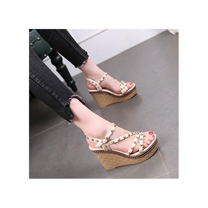 Gtvernh A Bende Shoes estate Da china Tacchi High Come 10cm Piedi Rivetti Scarpe I Visto Dei Fibbie Heeled Dita Sandali Signore Donna Donna Piattaforme