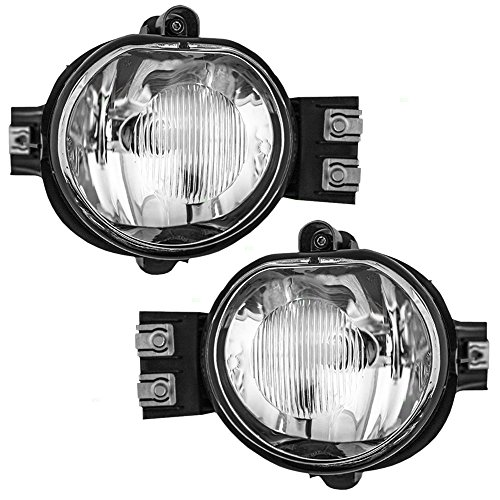 Driver and Passenger Fog Lights Lamps Replacement for Dodge Pickup Truck 55077475AE (Replacement Fog Light Lens)