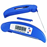 NEWZOR Mini Folding Meat Thermometer Kitchen Foldable BBQ Thermometer LCD Digital Cooking Thermometers with Stainless Steel Probe Auto-Off Power Saving Ultra Instant Read and Hold Function