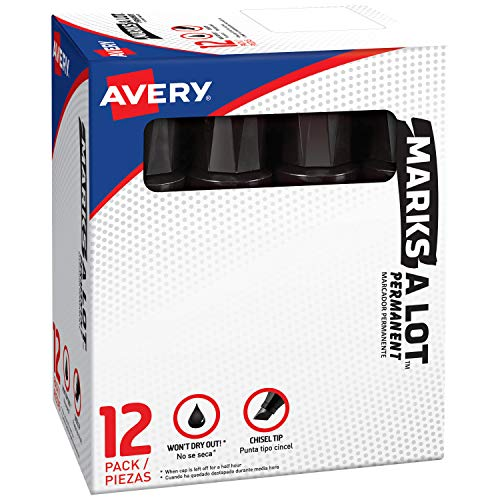 Avery Marks-A-Lot Permanent Marker, Jumbo Desk-Style Size, Chisel Tip, Water and Wear Resistant, 12 Black Markers (24148)