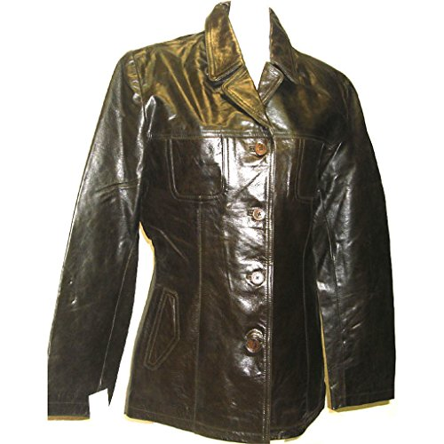 Fadcloset Womens Glamour 4 Button Leather (Four Button Leather Coat)