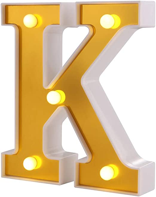 Samapet K LED Light Up Marquee Letters, Sign Letter 26 Alphabet with Lights for Wedding Engagement Birthday Party Table Decoration Bar Christmas Night Home Decoration (K)
