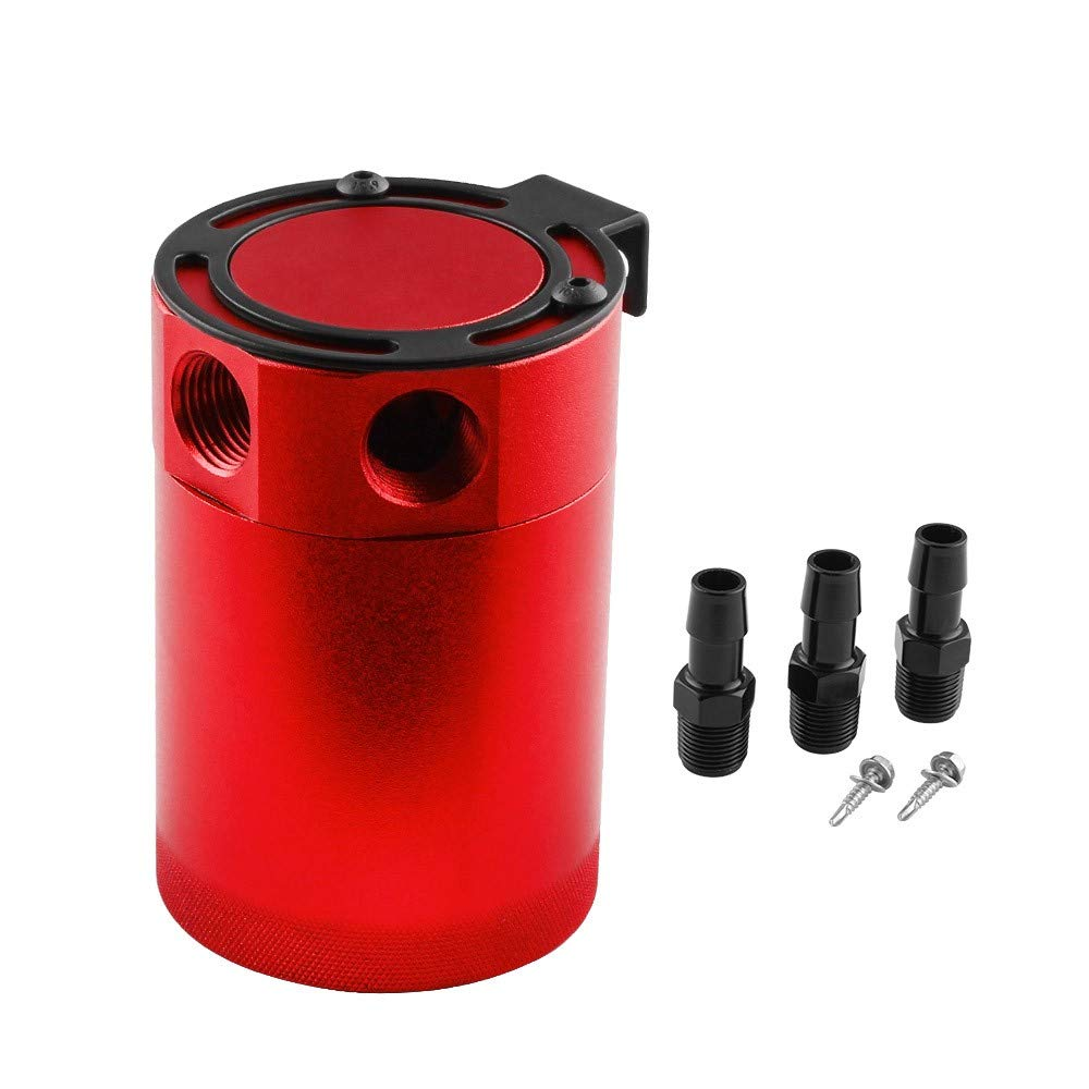 Oil Catch Can 3-Port, TLT Retail Compact Baffled Oil Catch Can, 0.4L Oil Catch Tank Can Compact Baffled Oil Catch Can, Black/Blue/Red/Silver (Red)