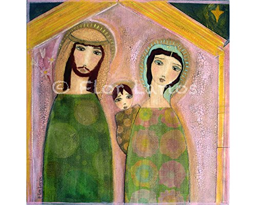 - Nativity Nacimiento - Folk Art Primitive Collage Painting (6 x 6 inches PRINT) by FLOR LARIOS