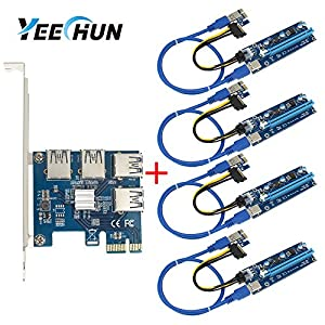 YEECHUN 4 in 1 PCI-E Riser Adapter Board +6-Pins VER 006C PCl-E 16x to 1x Powered Riser Adapter Card with 50cm USB 3.0 Extension Cable & Molex SATA Power Cable & GPU Riser Adapter Ethereum Mining ETH