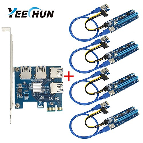 (YEECHUN 4 in 1 PCI-E Riser Adapter Board +6-Pins VER 006C PCl-E 16x to 1x Powered Riser Adapter Card with 50cm USB 3.0 Extension Cable & Molex SATA Power Cable & GPU Riser Adapter Ethereum Mining ETH)