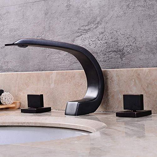 ShiSyan 立体水栓 万能水栓 ヴィンテージスタイルのスプリットスリーホールスリーワンピース流域の蛇口のすべての真鍮ブラッシュバスルームのシンクのホット/コールドタップ、Blackfaucet、黒、美しい実用 混合水栓